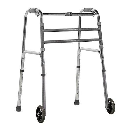 Andador Fixo De Alumínio Dobrável Com Rodas Mercur Cor:Prata