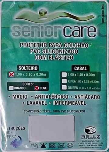 Capa Protetora de Colchão Solteiro Siliconada com Elástico  SENIOR CARE