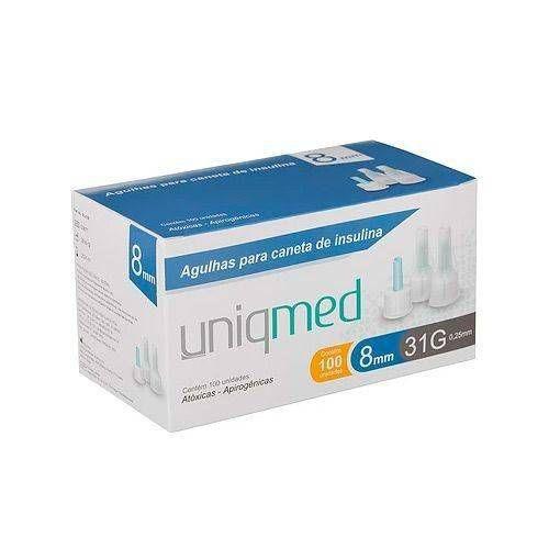 Agulhas Para Caneta De Insulina 8mm 31g C/100un Uniqmed