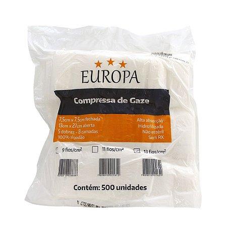 Compressa de Gaze 13 Fios 7,5x7,5 com 500 Unidade EUROPA