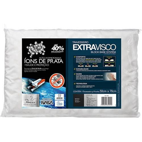 Travesseiro Fibrasca Block Base System Extravisco Ions de de Prata - Branco