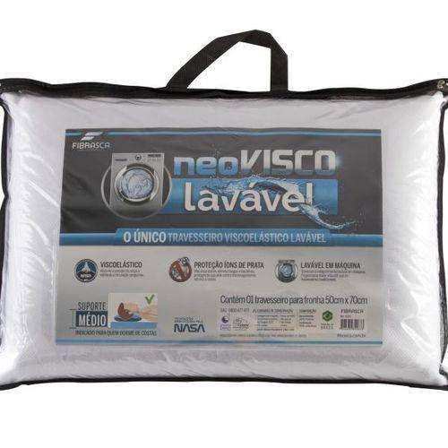 Travesseiro NeoVisco viscoelástico Lavável em Maquina de Lavar - Fibrasca