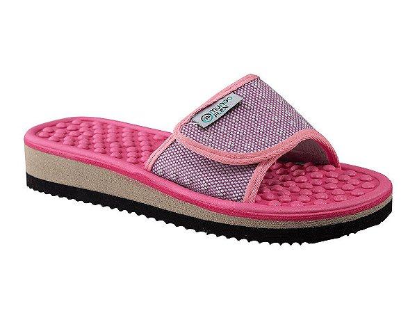 Chinelo Velcro Anabela Mundoflex Pink e Magenta Ref.501