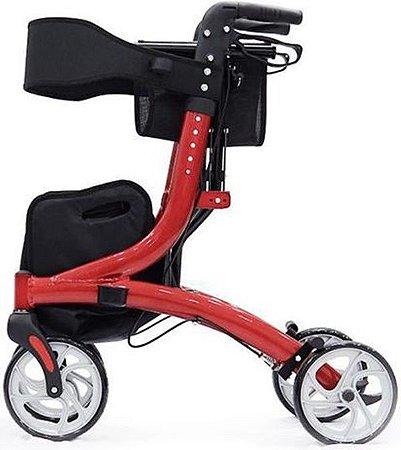 Andador em Alumínio com 4 Rodas Joy Vermelho