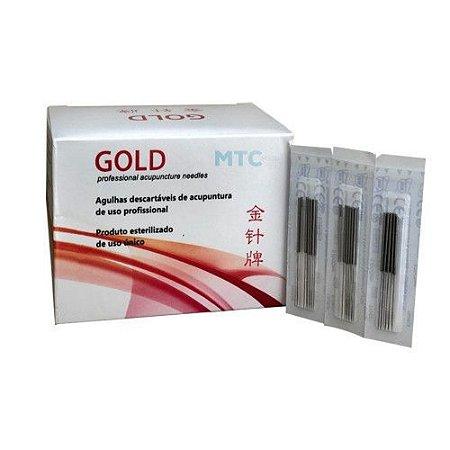 Agulha Acupuntura Gold 25x40 Com 10