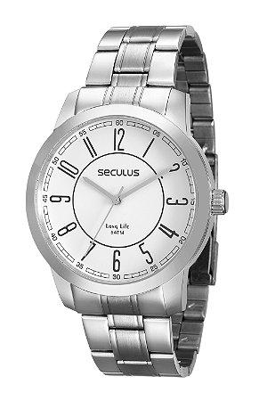 Relógio Analógico Seculus Prateado Masculino 28826G0SVNA2