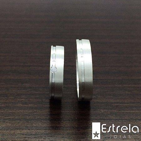 Par de alianças em prata 950 Ref 222105