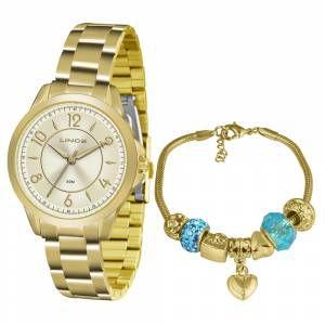 Relógio Lince Feminino Analógico Dourado LRG4504LC2KX