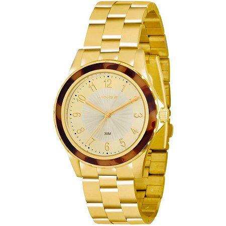 Relógio Lince Feminino Analógico Dourado LRGJ037LC2KX