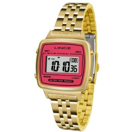 Relógio Lince Feminino Digital Dourado SDPH043LBRKX