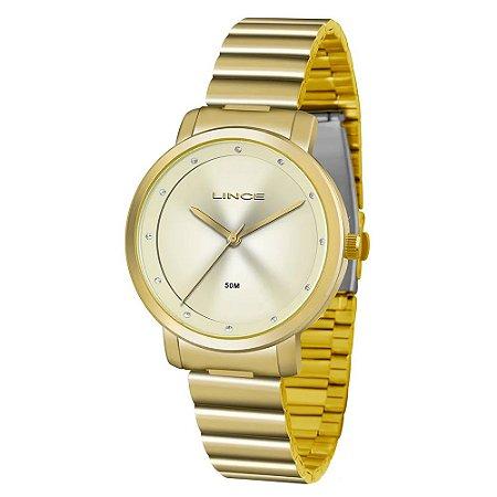 Relógio Lince Feminino Analógico Dourado LRG4483LC1KX