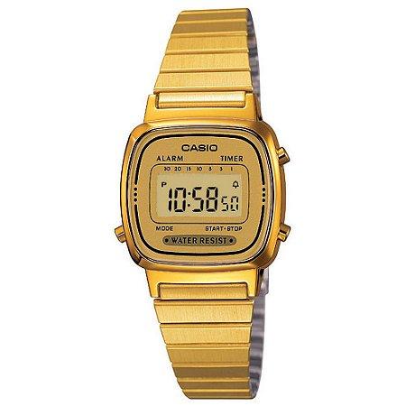 cf8a06ce0e8 Relógio Casio Feminino Digital Vintage Dourado LA670WGA9DF - Estrela ...