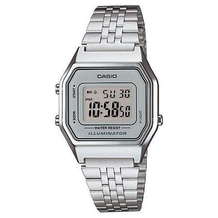 Relógio Casio Feminino Digital Vintage Prata LA680WA7DF