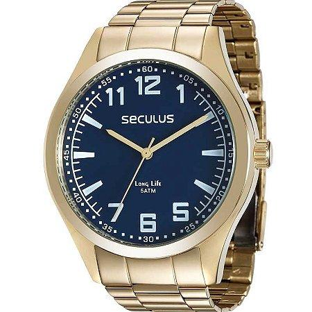 Relógio Seculus Masculino Analógico Dourado 28865GPSVDA2