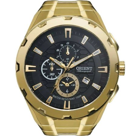Relógio Orient Masculino Cronógrafo Dourado MGSSC008P1KX