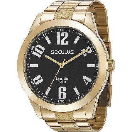 Relógio Seculus Masculino Analógico Dourado 28936GPSVDA1
