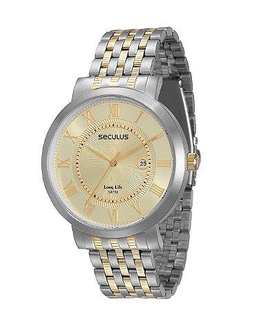 Relógio Seculus Masculino Analógico Bicolor 20298GPSVBA2