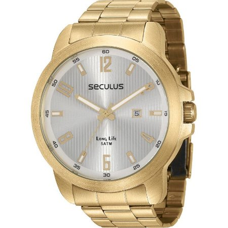 Relógio Seculus Masculino Analógico Dourado 28927GPSVDA2