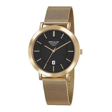 Relógio Seculus Unissex Analógico Dourado 23659GPSVDA1