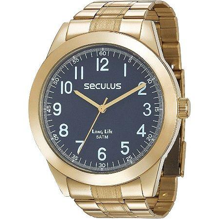 Relógio Seculus Masculino Analógico Dourado 28937GPSVDA1