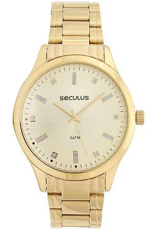 Relógio Seculus Feminino Analógico Dourado 23620LPSVDS1