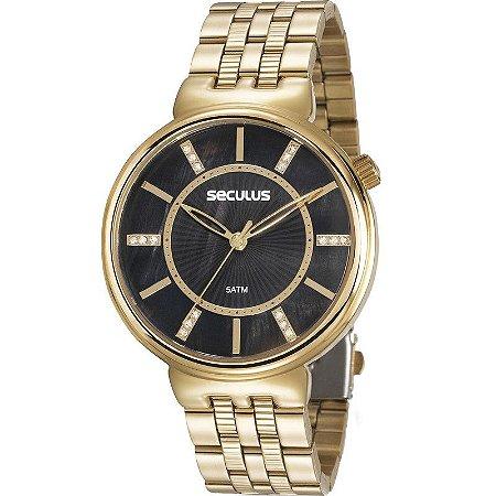 Relógio Seculus Feminino Analógico Dourado 20625LPSVDS1