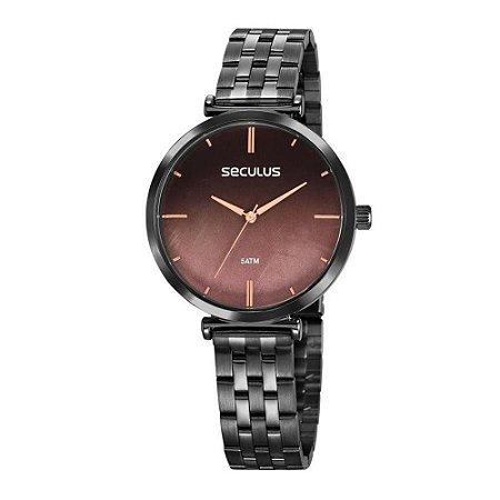 cc6bac124bd Relógio Seculus Feminino Analógico Preto 77040lpskss3 - Estrela ...