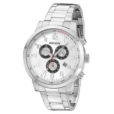Relógio Magnum Masculino Cronógrafo Prateado MA33166Q