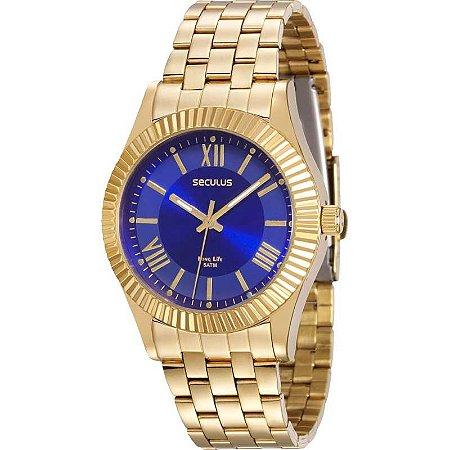 Relógio Seculus Analógico Feminino Dourado 25540LPSVDA1