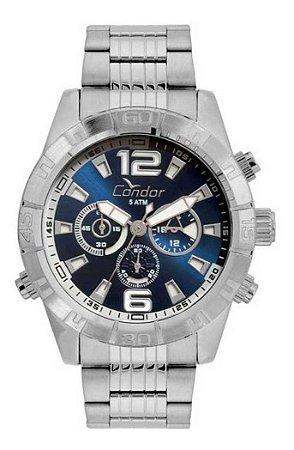 Relógio Condor Masculino Multifunção Prateado Covd54ax3b