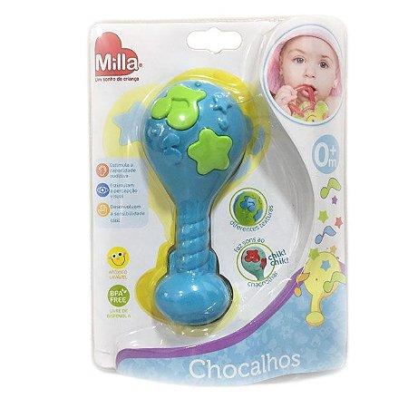 Chocalho Maracás Bebê Infantil Milla Baby Azul e Verde