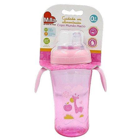 Copo Infantil Bebê Com Alça Mundo Macio Grande Rosa Girafa - Milla