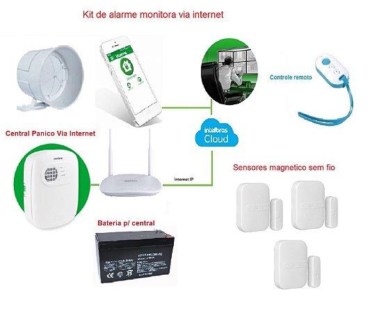 Kit Alarme Intelbras Via Internet Por Aplicativo no Celular