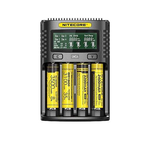 Carregador Baterias NITECORE UMS4 USB para 4 Baterias
