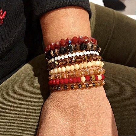 Mix de pulseiras femininas com cristais