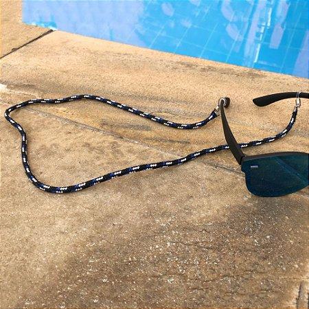 Cordinha náutica preta com azul para óculos