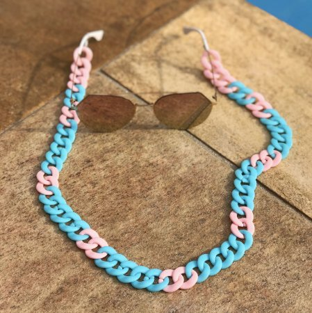 Cordinha para óculos azul com rosa