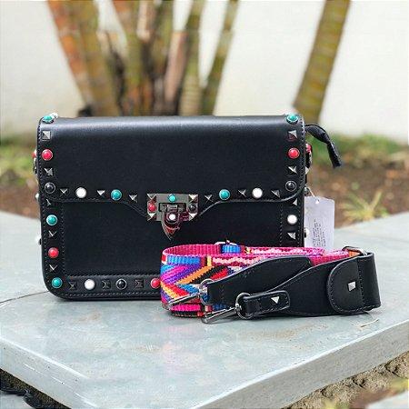 Bag preta detalhes coloridos