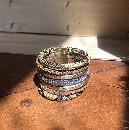 Pulseira Feminina Dourada Bracelete Animal Print