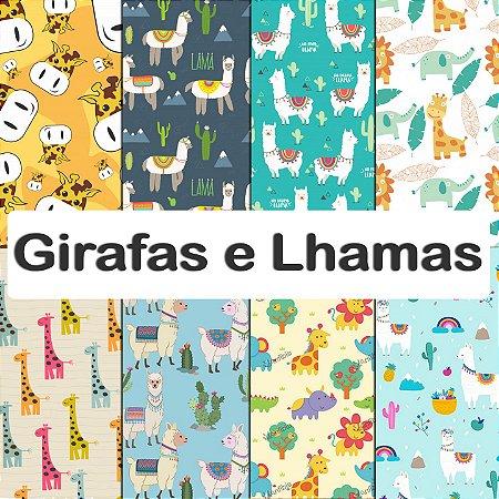 Tecido impermeável PUL Estampado - Girafas e Lhamas