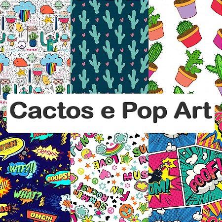 Tecido impermeável PUL Estampado - Cactos & Pop Art