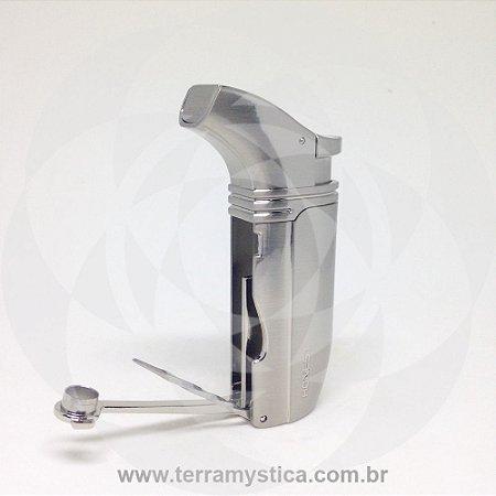ISQUEIRO MAÇARICO HONEST - REF.422 - 2 CHAMAS c/ Furadores I Inox Escovado Prata