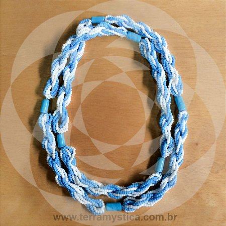 GUIA IMPERIAL - BRAJA AZUL CLARO E BRANCO - Trançado com Firma Azul