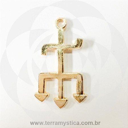 TRIDENTE EXU - Pingente Dourado