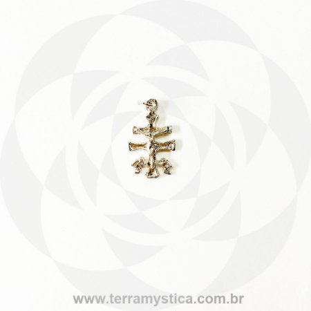 CRUZ DE CARAVACA COM ORACAO - Pingente Prateado 2,7 cm