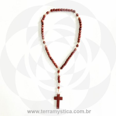 TERÇO DE PAU BRASIL ROSÁRIO COM CRUZ