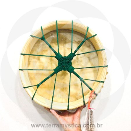 TAMBOR XAMANICO - 30 cm - Verde - Com baqueta