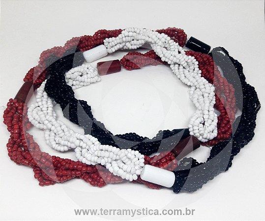 GUIA IMPERIAL - BRAJA PRETO BRANCO VERMELHO - Trançado com firmas preto branco e vermelho