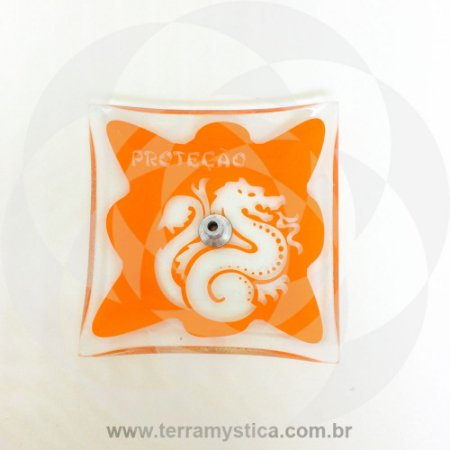 INCENSÁRIO DE VIDRO ORIENTAL - Laranja - Proteção