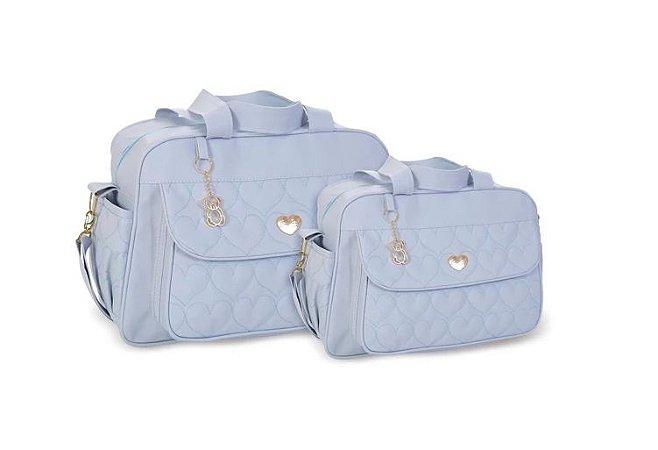 Kit de Bolsas Corações com 2 Peças Azul Bebê